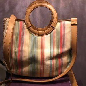 Fossil canvas bag w/ circle handles and long strap